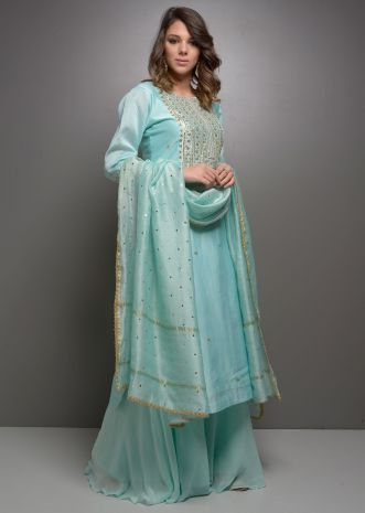 Sky blue chanderi suit in gotta and tikki embroidery