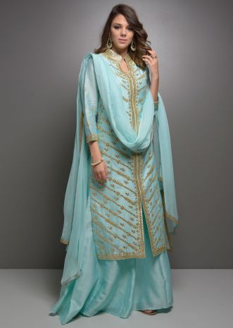 Sky blue heavy gota patti jaal embroidered sharara suit