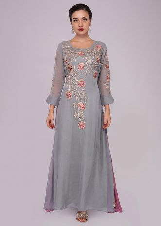 Smoke grey and pink flared kurti with resham and floral embroidery