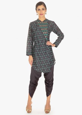 Smoke grey silk anagrakha printed top paired with a graphite grey satin dhoti pant