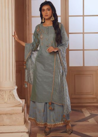 Stone grey straight palazzo suit with embroidered butti and fancy buttons