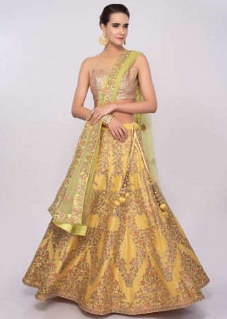 Sulfur yellow raw silk embroidered lehenga set only on Kalki