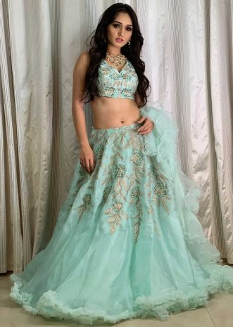 Taniya Sharma in Kalki mint green organza lehenga set with ruffled dupatta