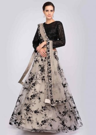 e180fe170a8 Taupe grey resham embroidered net lehenga and dupatta with contrasting  black crop top only on Kalki ...