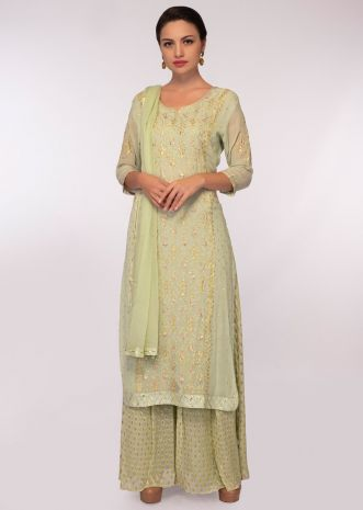 Tea green georgette suit in zari floral embroidery and butti