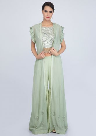 Tea green three-piece sharara set with cut dana and sequins work only on Kalki