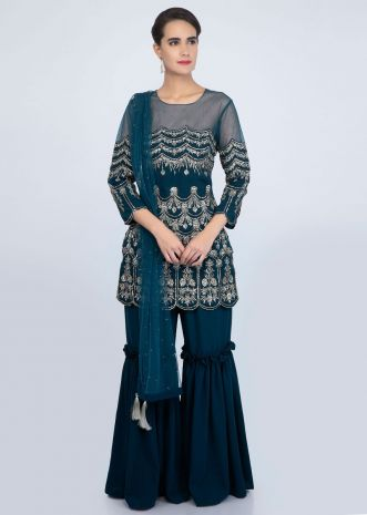 Teal blue sharara suit set in zari and sequins jaal embroidery only on Kalki