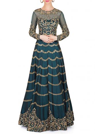 Teal Green Silk and Net Gown Featuring Zardosi and Mirror Work only on Kalki