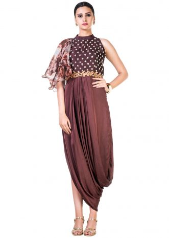 Tie and Dye and Embroidered Coffee Brown Draped Dress