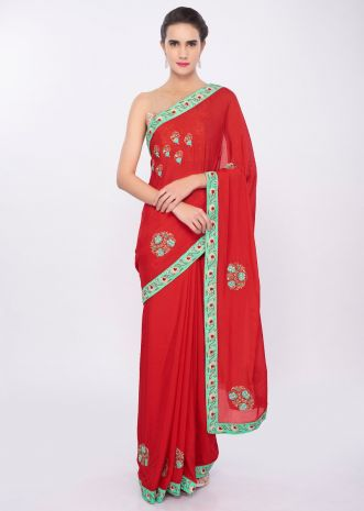 Tomato red chiffon saree in floral embroidery and butti only on Kalki