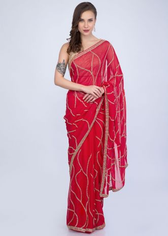 d1440379447ded Tomato red georgette saree cut dana abstract embroidery only on Kalki ...