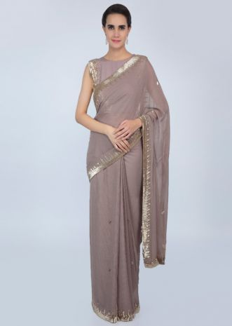 538e4245f04241 Tortilla brown georgette saree with cut dana embroidered butti and border  only on Kalki