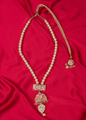 Traditional pearl necklace with coral triple layer pendant only on Kalki