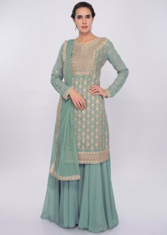 Turq blue jaal embroidered palazzo suit set only on Kalki