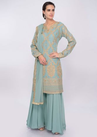 Turq blue resham and kundan embroidered palazzo suit only on Kalki