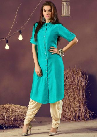 Turq long kurti in silk with shell buttons on placket
