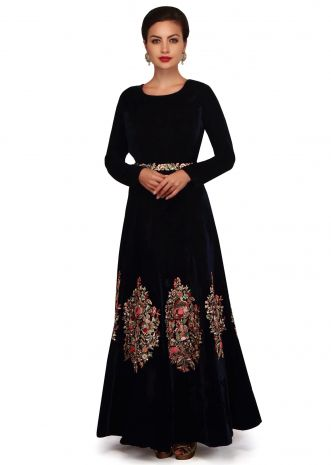 Twilight blue gown adorn in floral embroidery in hand work only on Kalki