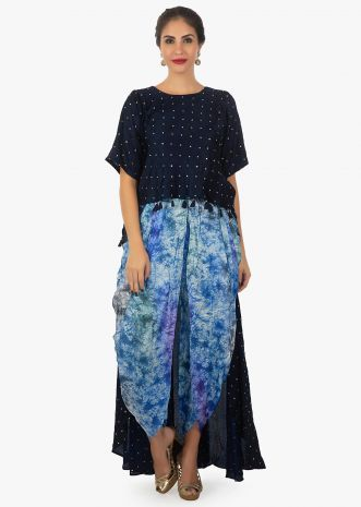 Twilight blue top with front short back long   paired with dhoti pant