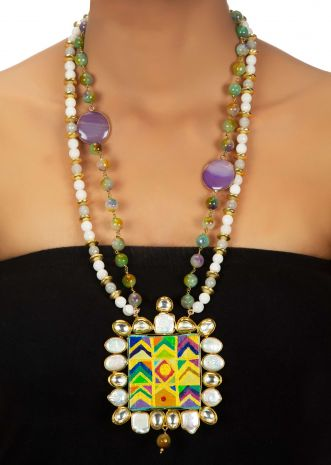 Two toned multi layered necklace with wooden hand painted pendant