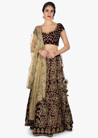 Velvet lehenga in maroon with zari and sequin embroidery only on Kalki