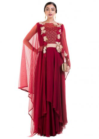 Wine layered Suit Set With Attached Dupatta
