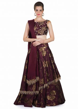 Wine Silk Top, Dupatta and Skirt Featuring Embroidered Butti, Tassels and Foil Print only on Kalki