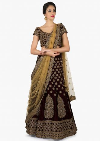 Wine lehenga featuring with ready blouse in cut dana embroidery only on Kalki