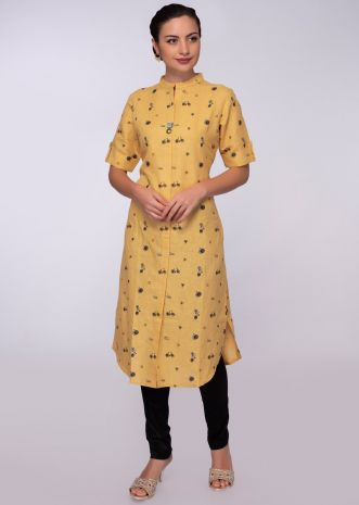 Yellow cotton jute kurti in printed butti
