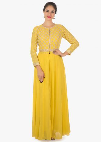 Yellow kurti with front slit only on kalki