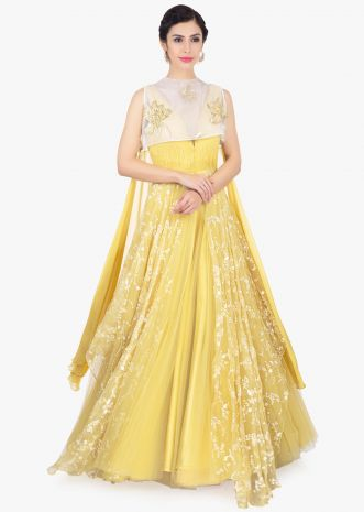 Yellow net gown with fancy georgette and organza jacket