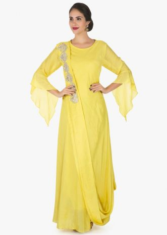 Yellow cotton tunic with ready pleated dupatta enhanced in gotapatti embroidery work only on Kalki