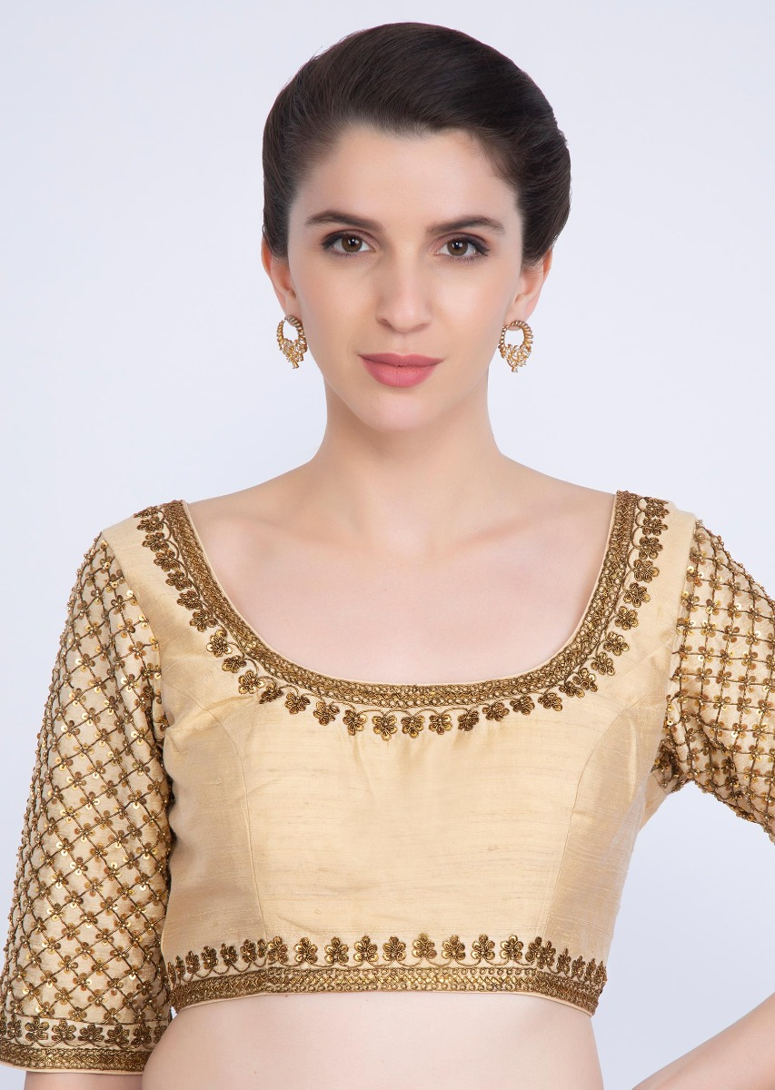 c4c9d3fcfb97dc Dark cream raw silk blouse with checks jaal embroidered sleeves only on  kalki
