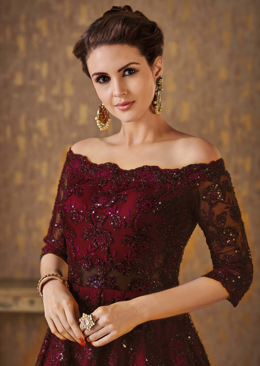 5fda82aaeca95b Dark maroon off shoulder gown adorn in embossed thread and sequin embroidery