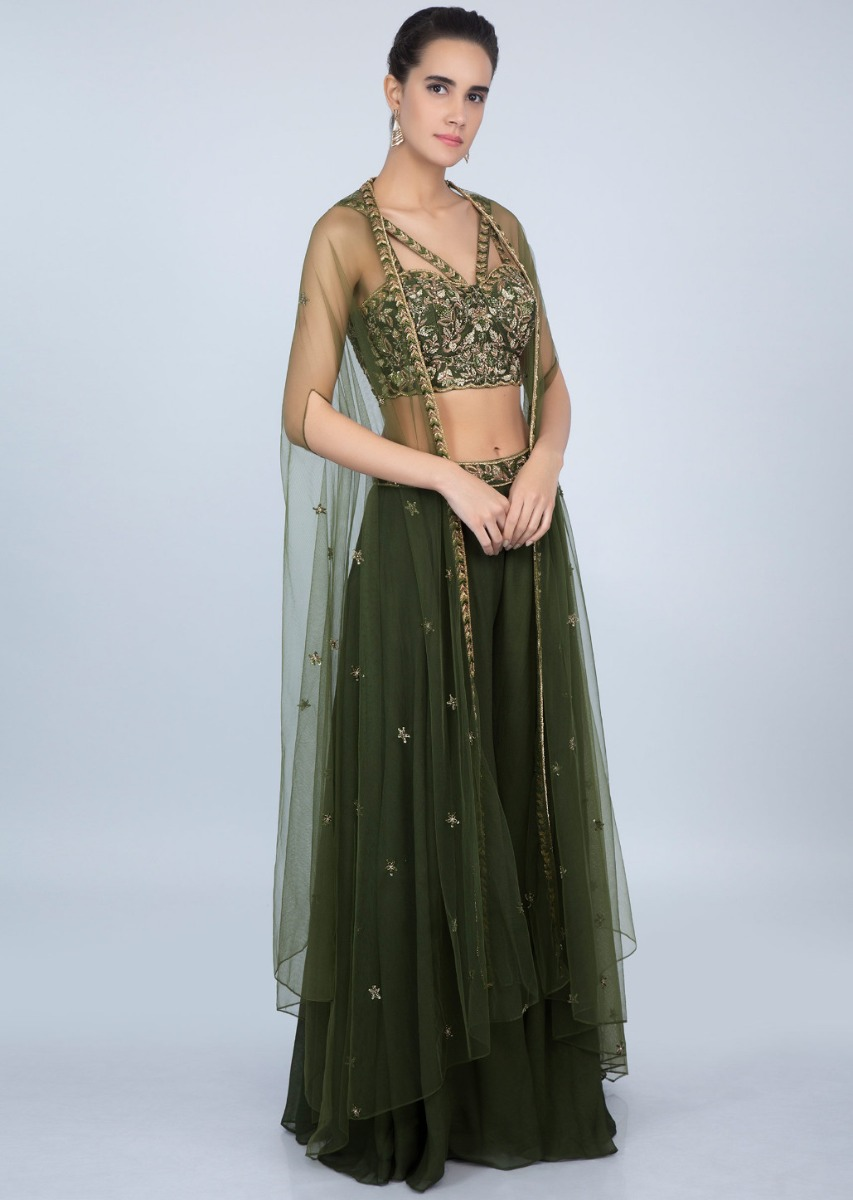 6f6d995a63f67 Dark olive green embroidered crop top with and palazzo with net jacket only  on kalkiMore Detail