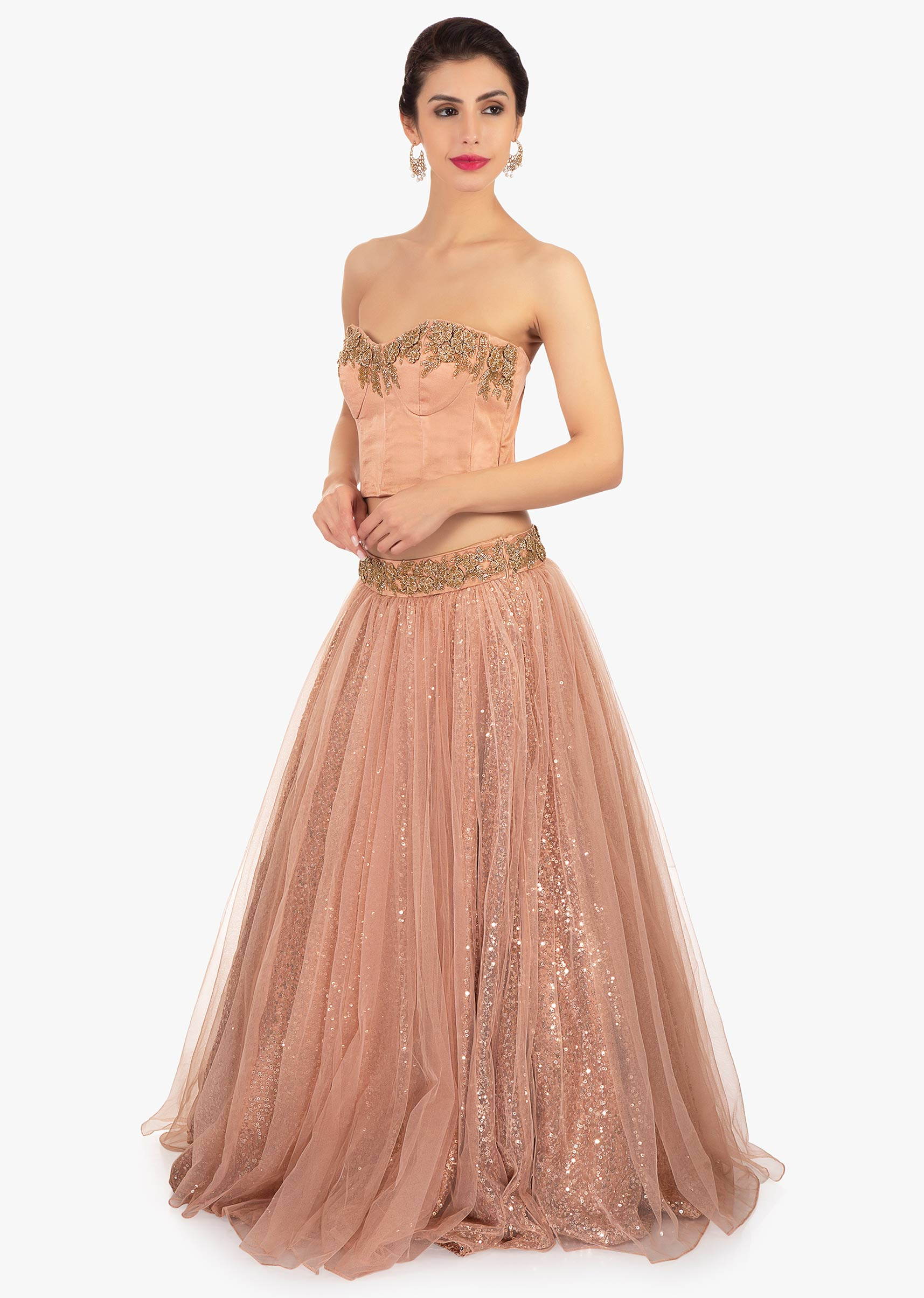e663947c8a12b Dark peach strapless crop top paired with sequins fabric skirt only on KalkiMore  Detail