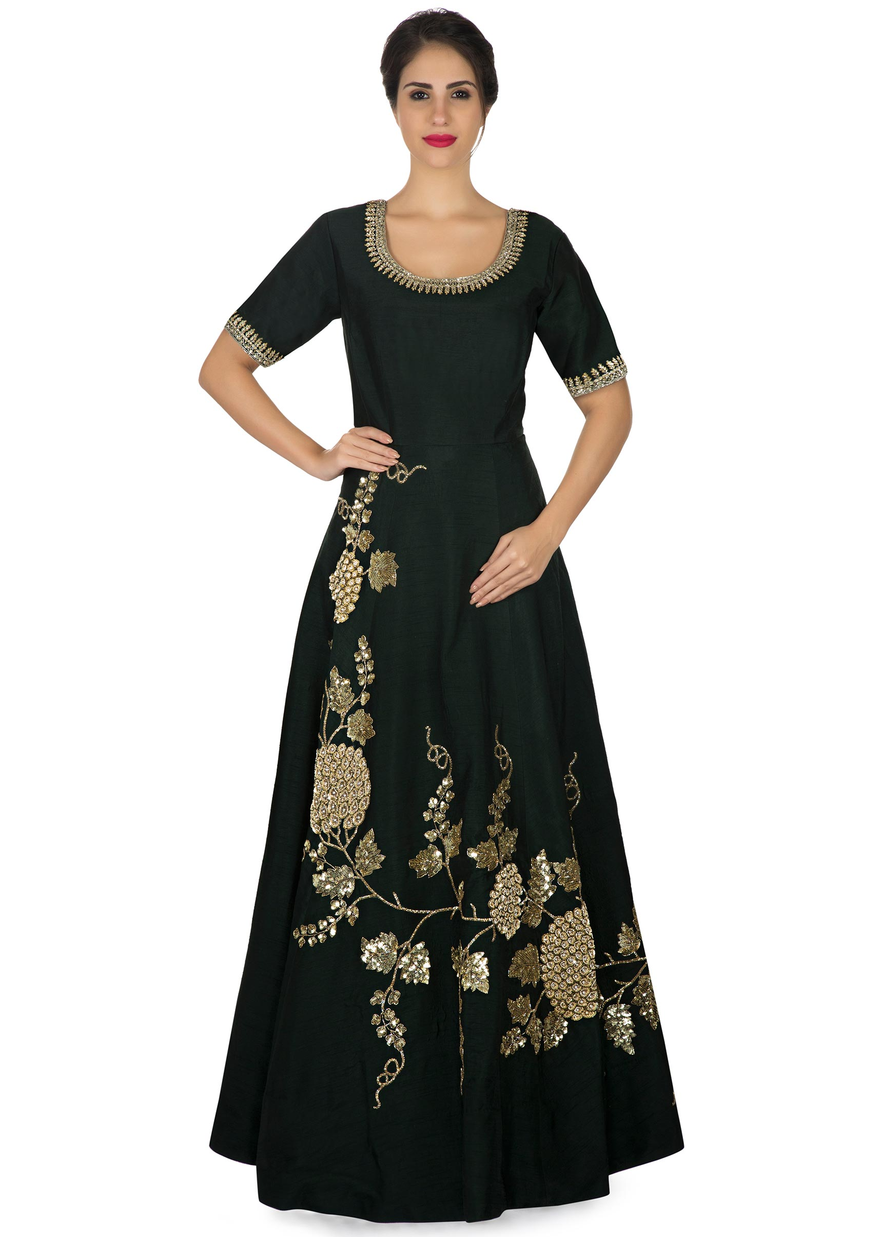 e3be4f95a87e51 Deep bottle green anarkali suit in raw silk with sequin embroidery only on KalkiMore  Detail