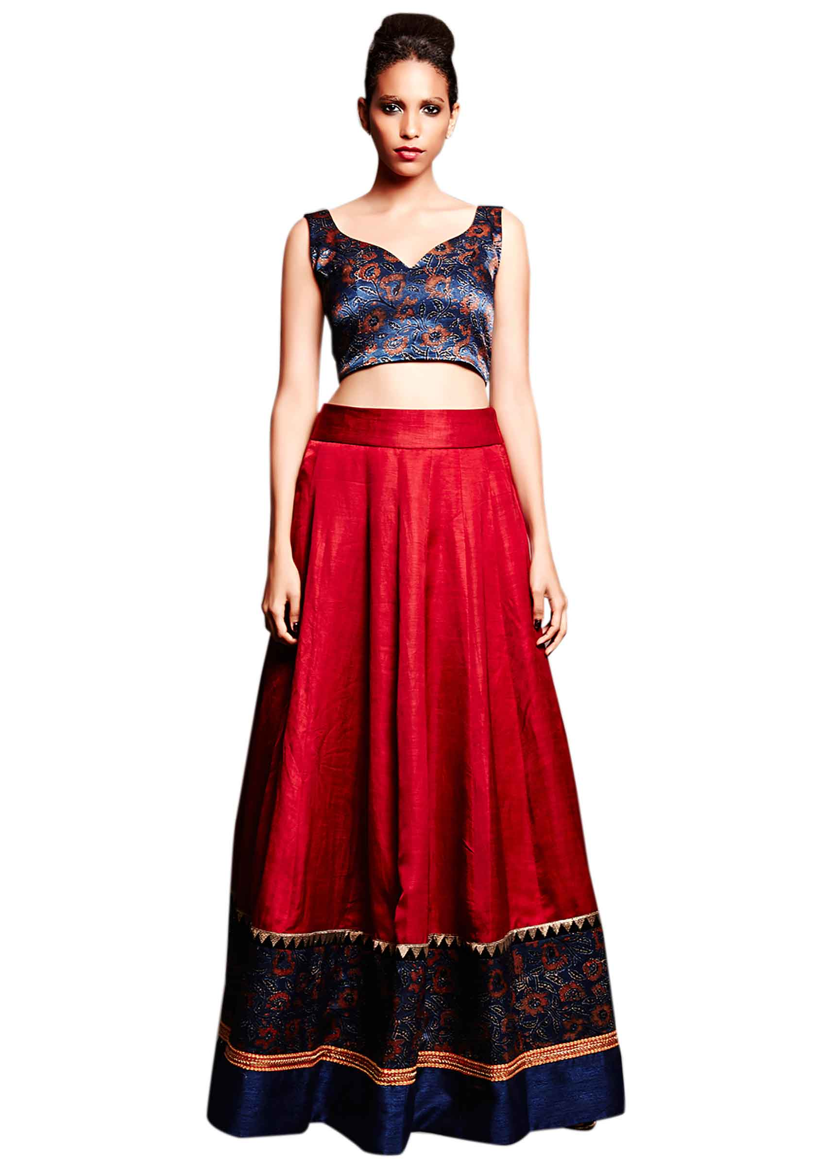 c5610ec9ddcfbc Deep red skirt matched with velvet crop top only on Kalki