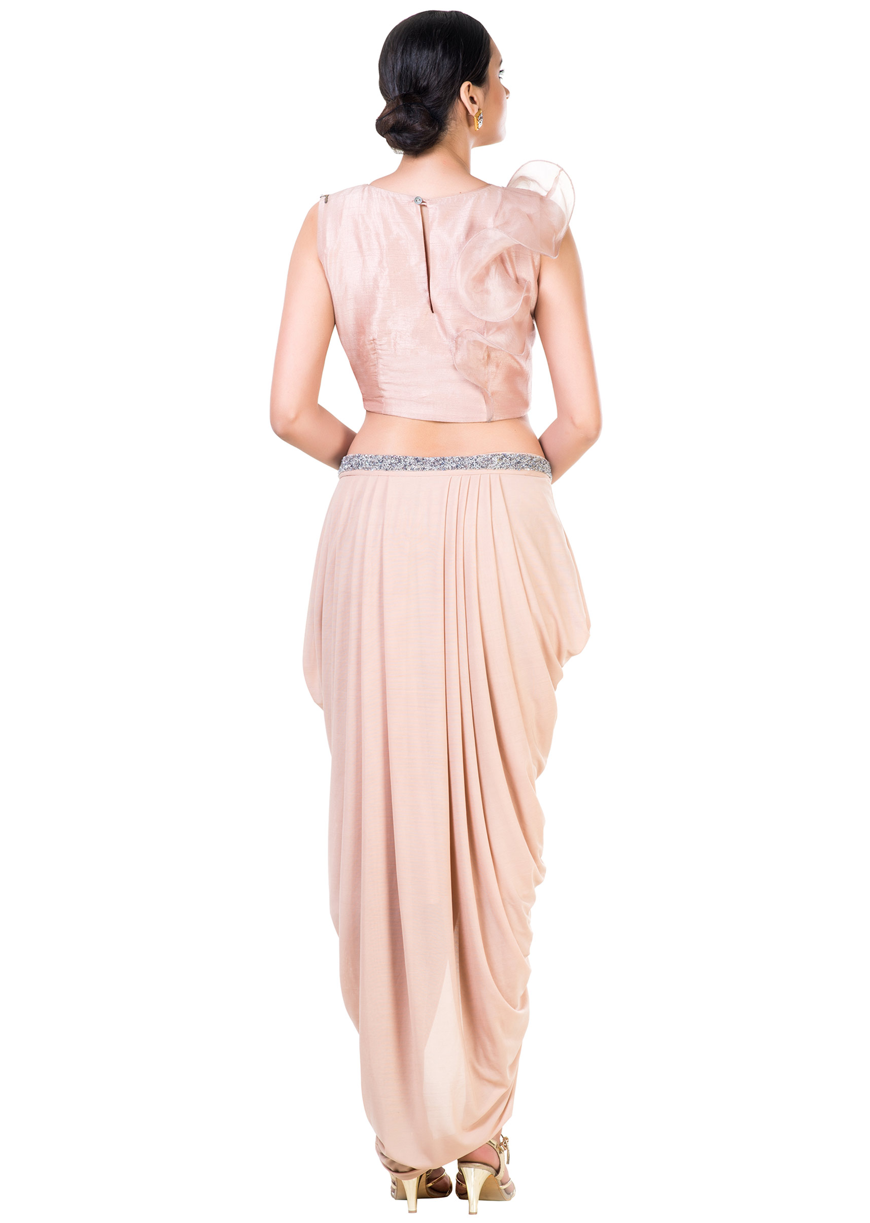 0bdb32d5954 Embroidered Light Brown Frill Crop Top and Draped Skirt Set