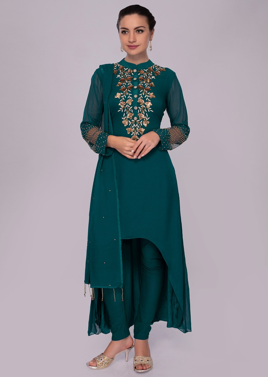 9c243356d9e72 Emerald green front short back long crepe suit with georgette top layer  only on KalkiMore Detail