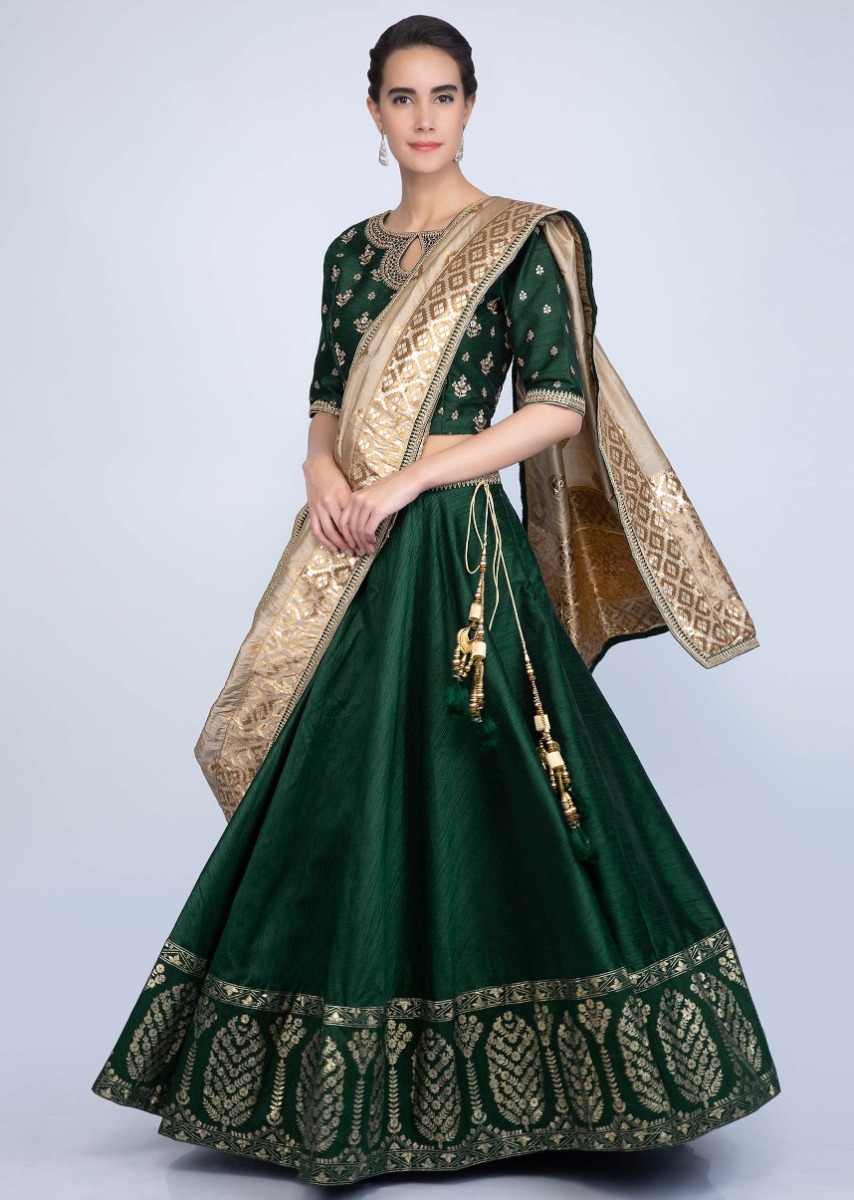 663510f92aaec Emerald green raw silk embroidered lehenga set contrasting brocade dupatta  only on KalkiMore Detail