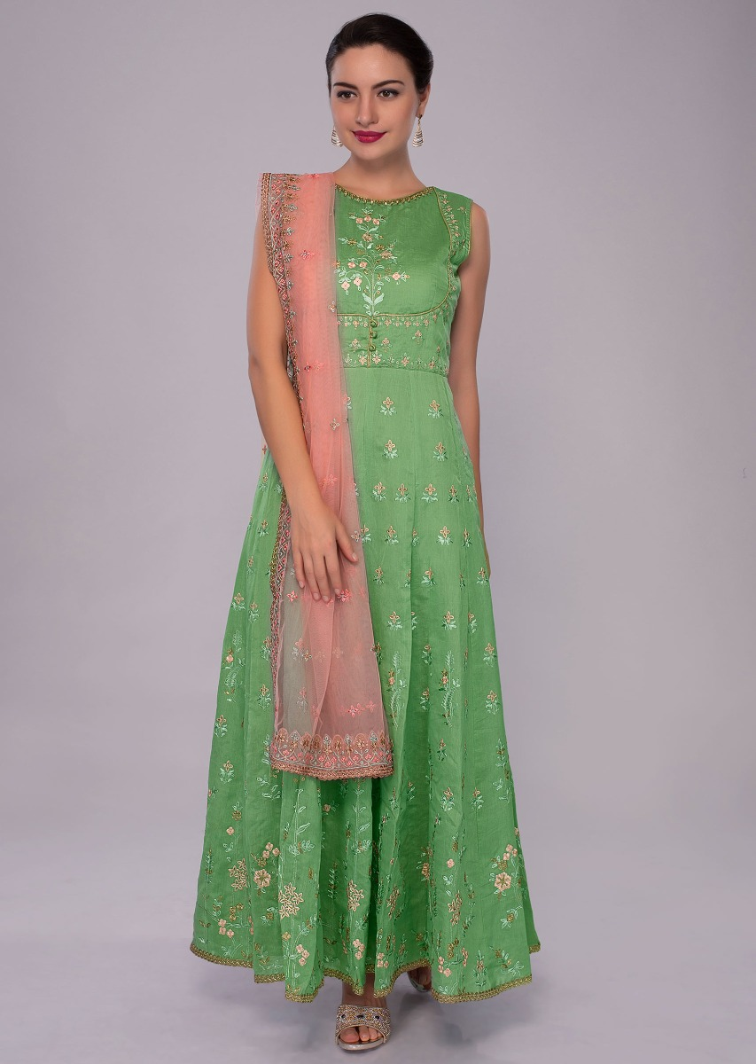 a1ce71b59618 Fern green anarkali dress in multi color embroidery paired with pink net  dupatta only on KalkiMore Detail