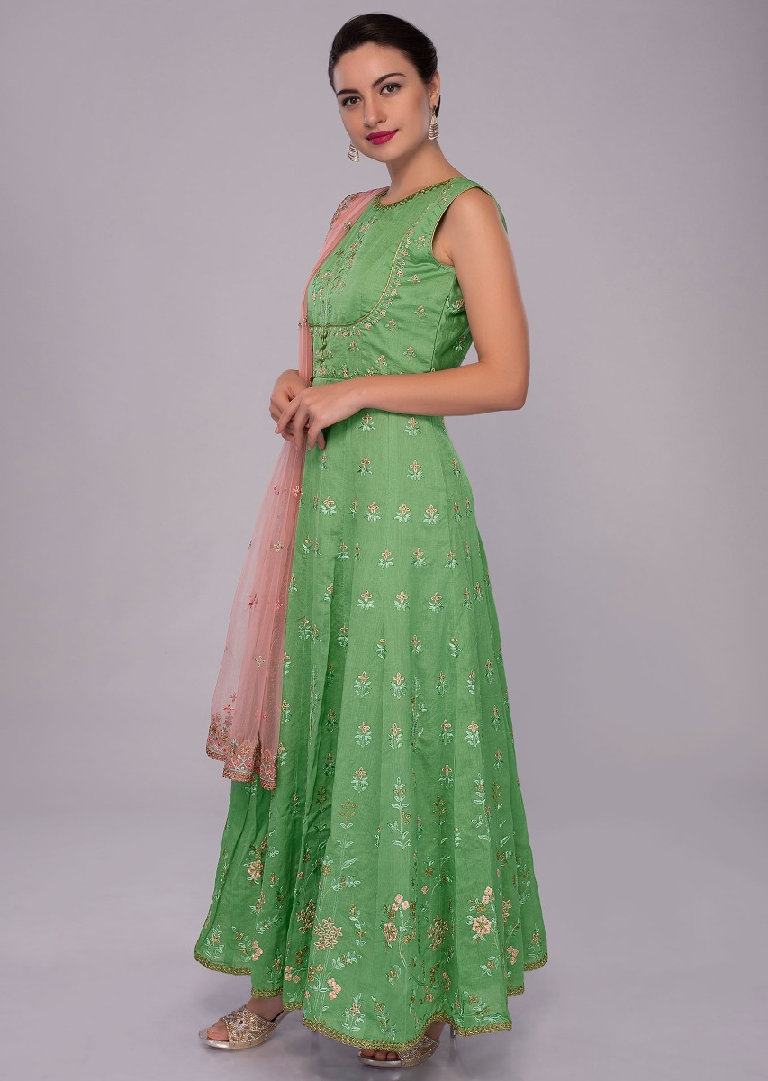 e2705953332c Fern green anarkali dress in multi color embroidery paired with pink net  dupatta only on Kalki