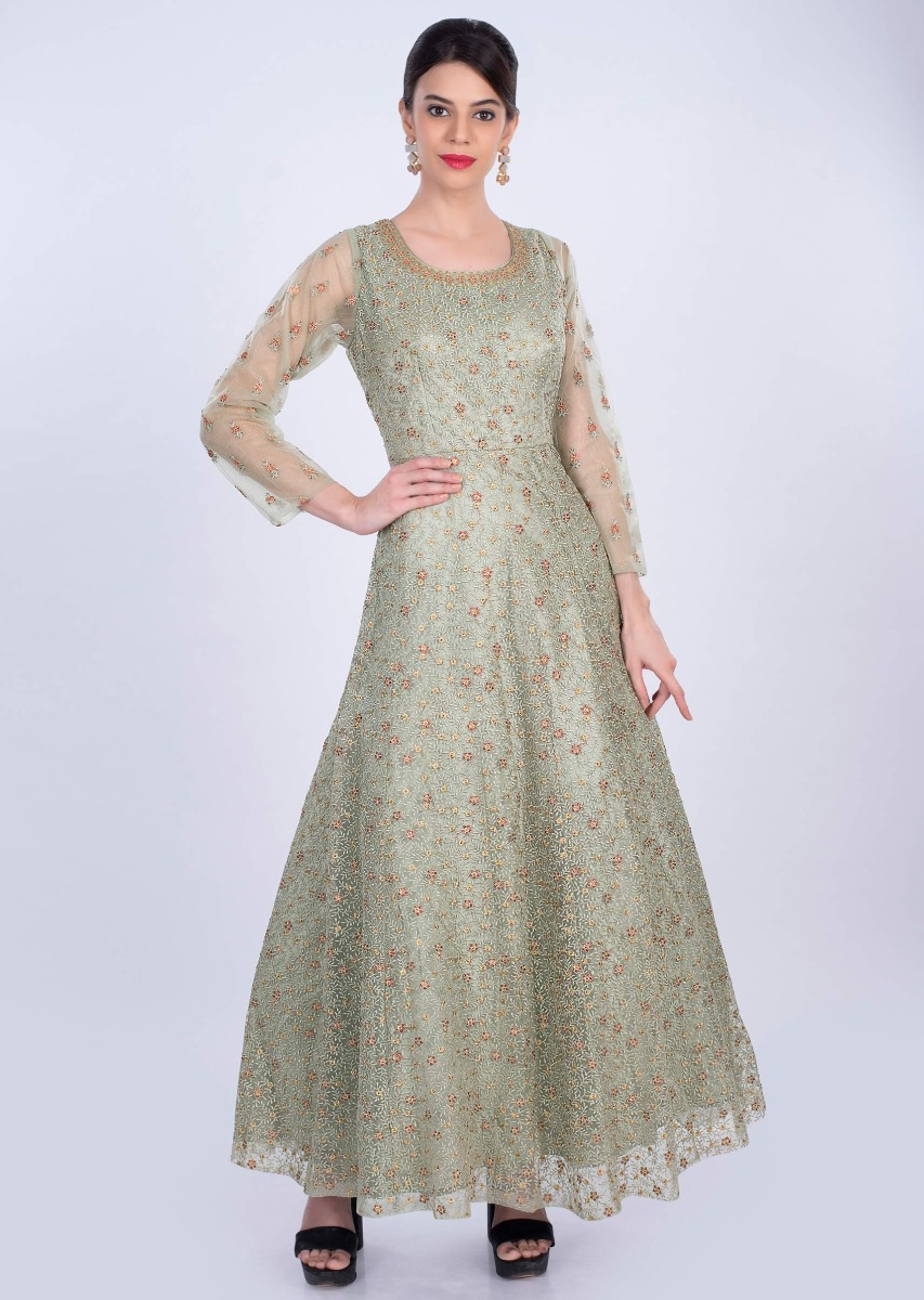 65884da40715 Fern green anarkali gown in self floral thread embroidery only on Kalki