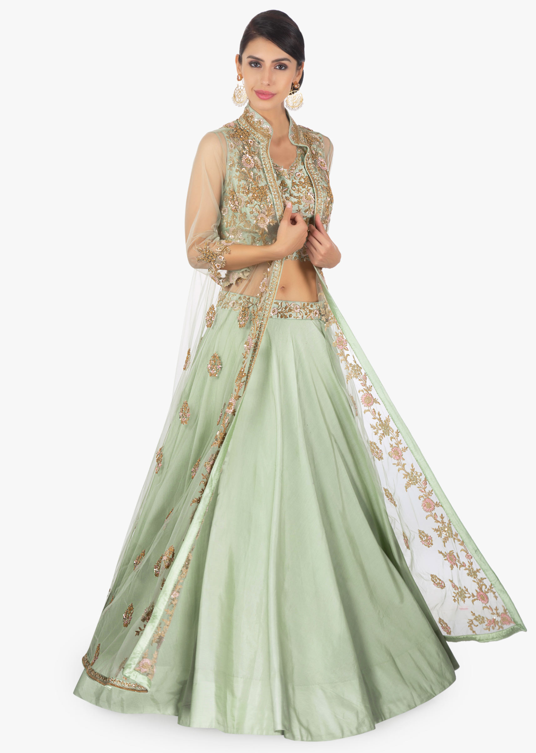 7a7be98d032896 Fern green cotton silk lehenga paired with a matching blouse and an  additional net jacket only on KalkiMore Detail
