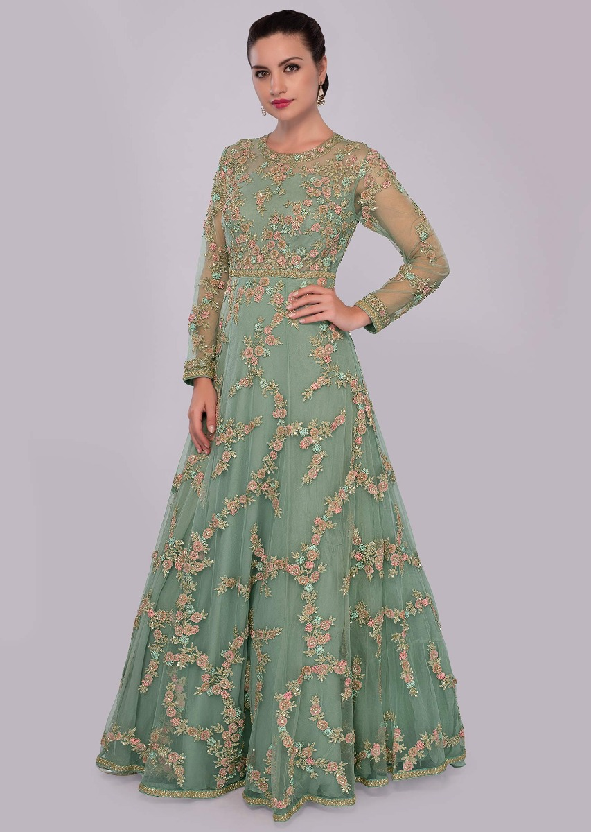 1653468e5325 Fern green net embroidered gown with floral embroidered jaal work only on  Kalki