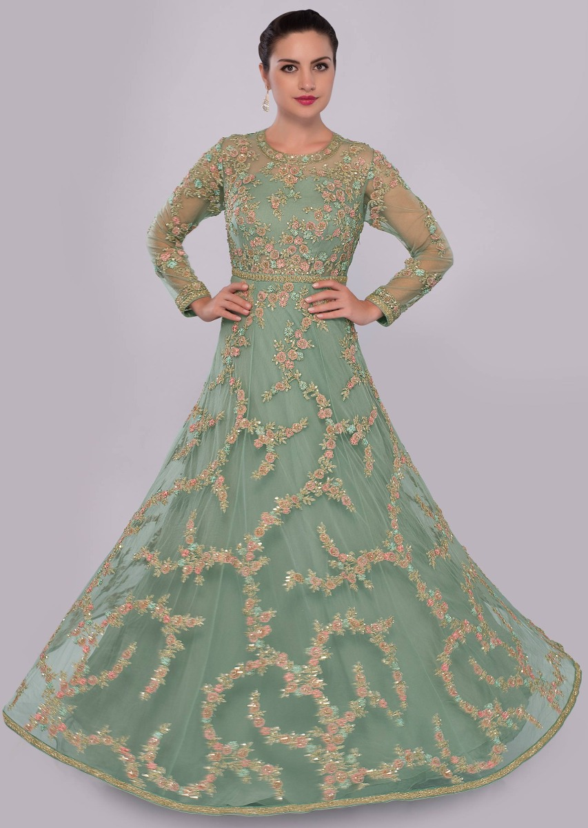 b5391e3c6dde Fern green net embroidered gown with floral embroidered jaal work only on  KalkiMore Detail