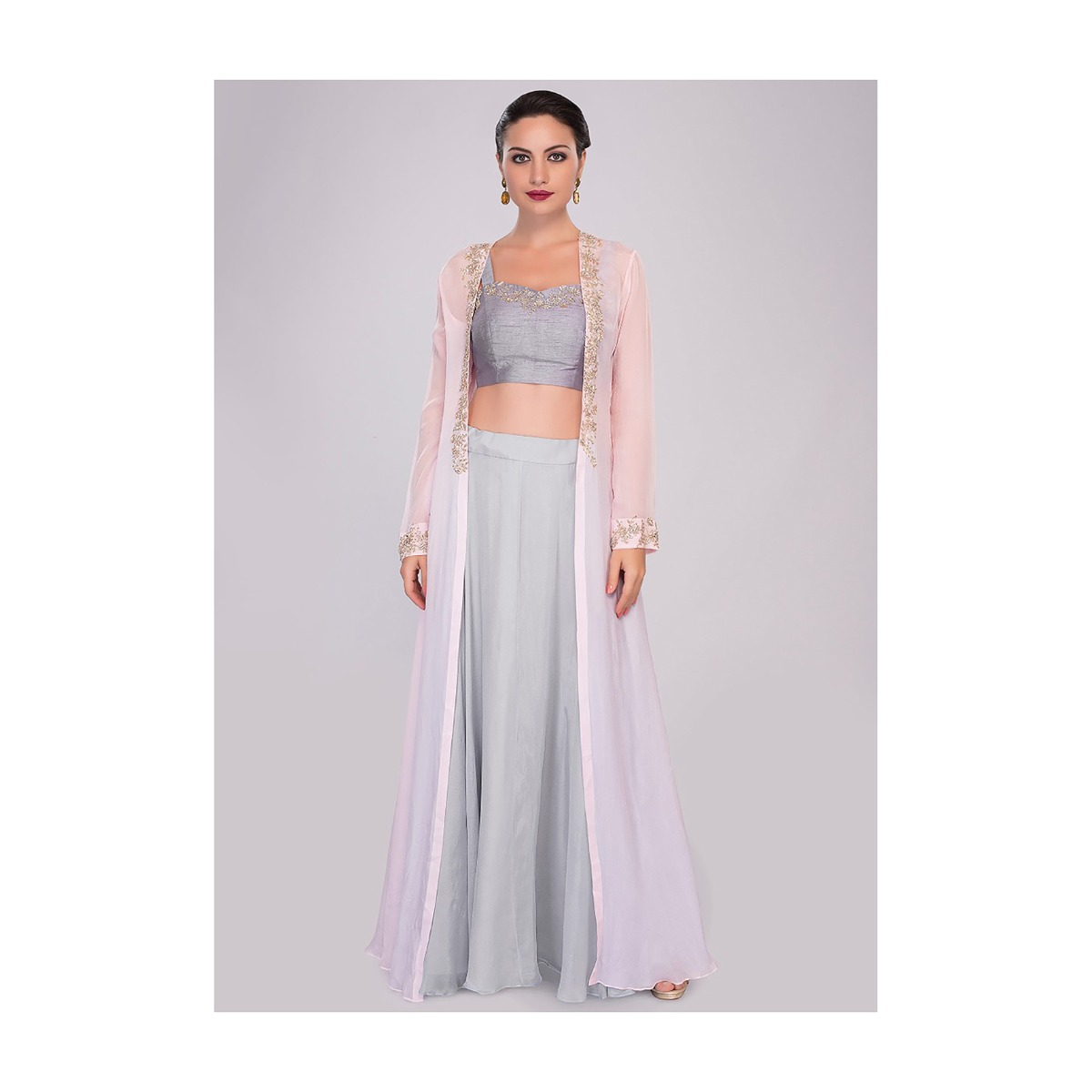 68283fcdcc2551 Flint grey crop top and skirt paired with baby pink jacket with embroidered  edges only on KalkiMore Detail