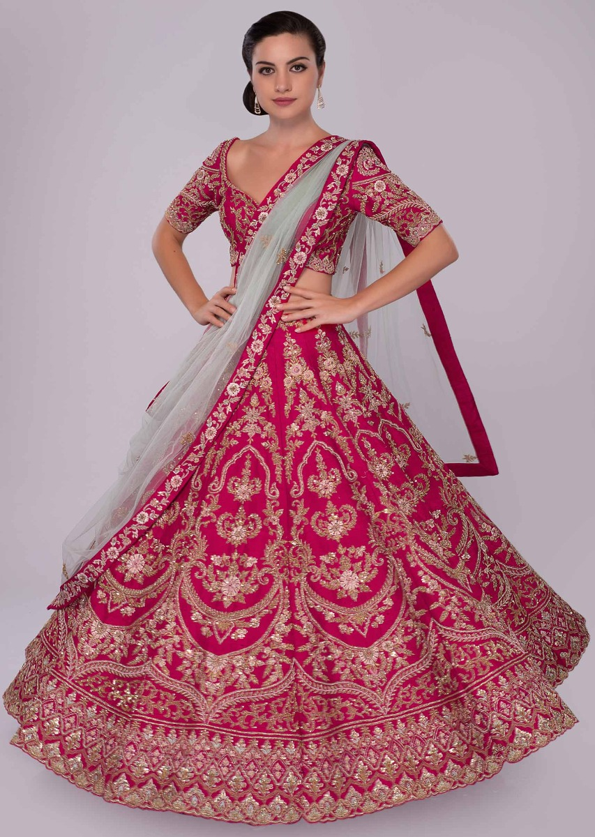 9b80e4be0f Fuchsia pink raw silk lehenga set in floral and temple embroidery only on KalkiMore  Detail