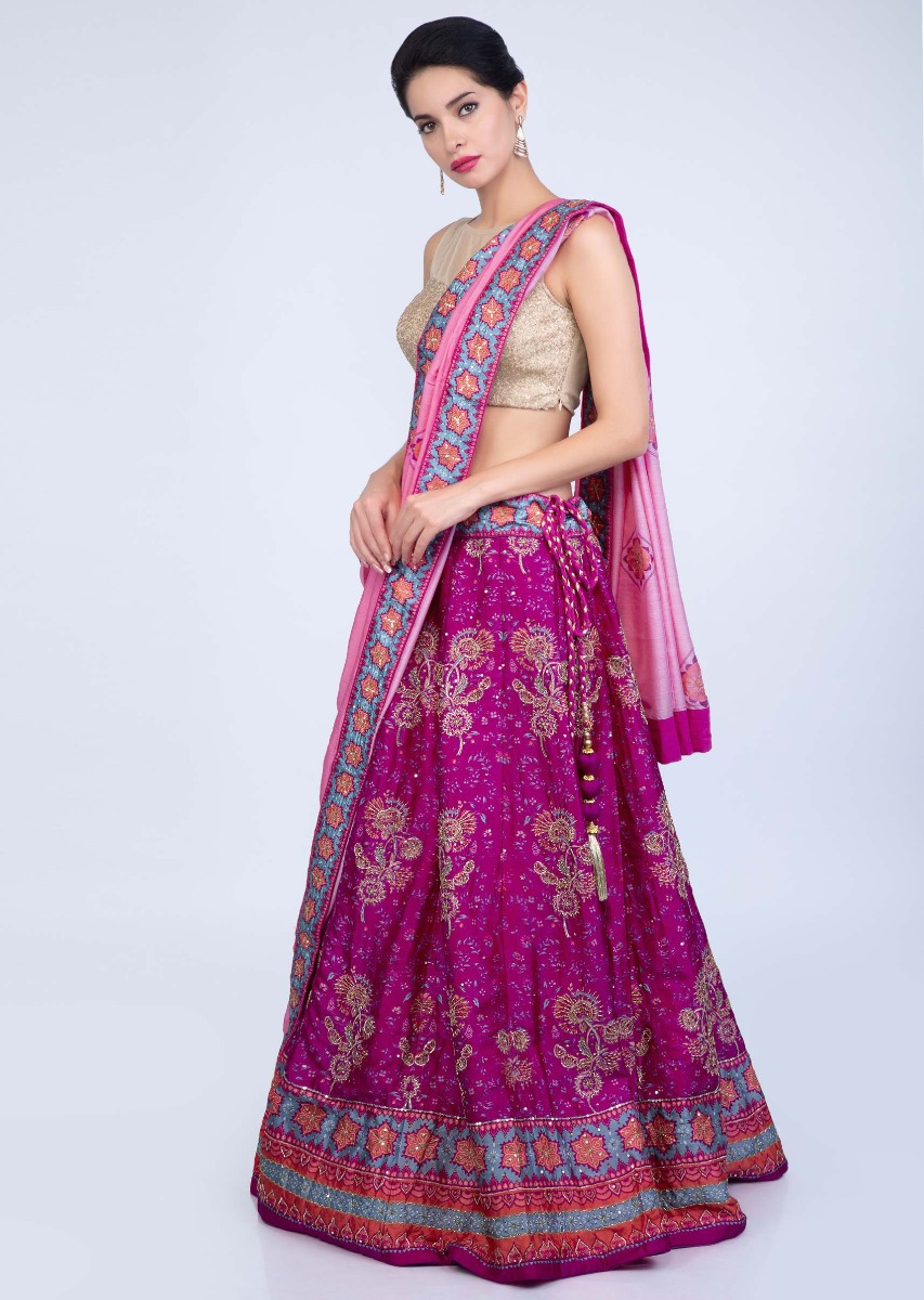 0cba9c98f3 Fuchsia pink floral printed cotton silk lehenga with rouge pink cotton  dupatta only on Kalki