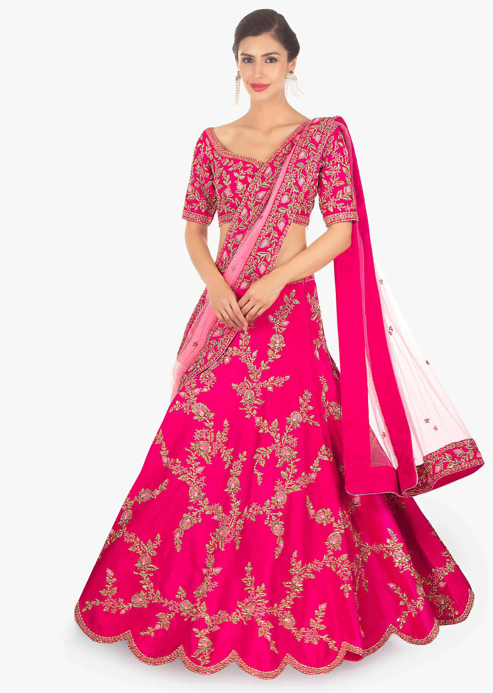 b5606e6f8d Fuschia pink raw silk lehenga and blouse paired with matching net dupatta  only on KalkiMore Detail